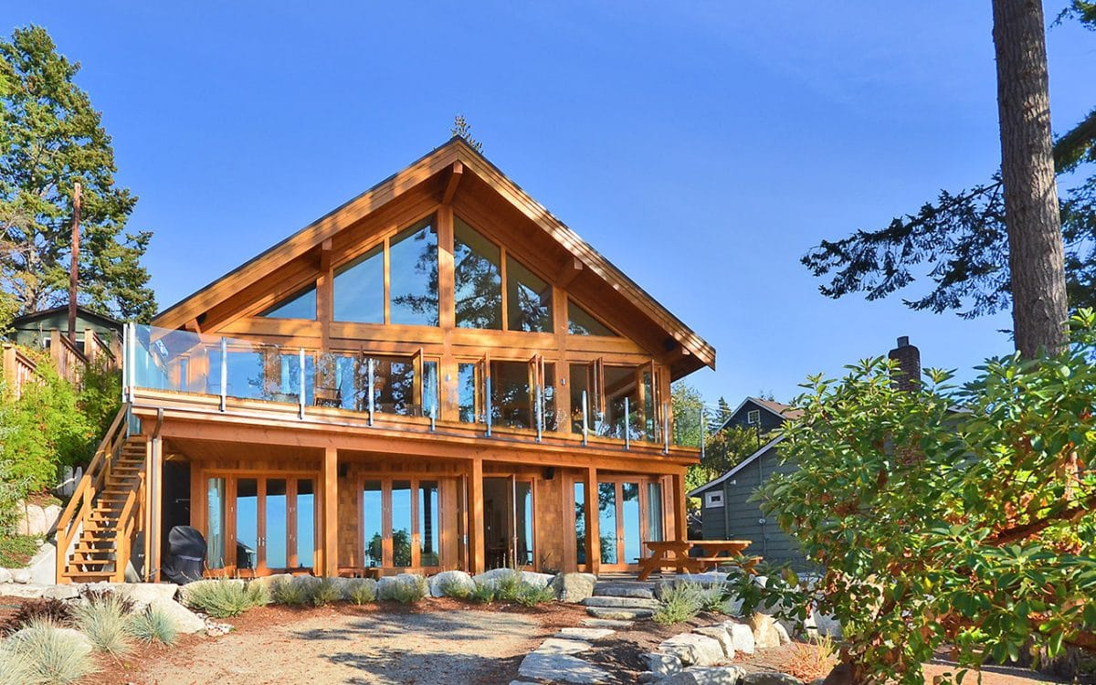 Davis bay timber frame west coast log homes for Timber framed houses