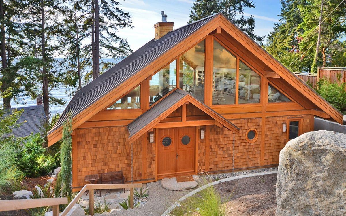 Davis bay timber frame west coast log homes for Timber frame homes pictures