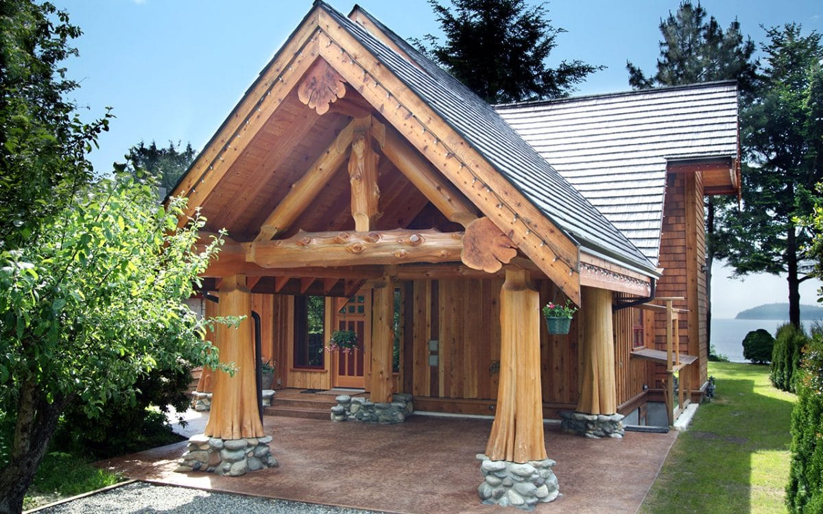 Gibsons post and beam west coast log timber for Post beam home plans