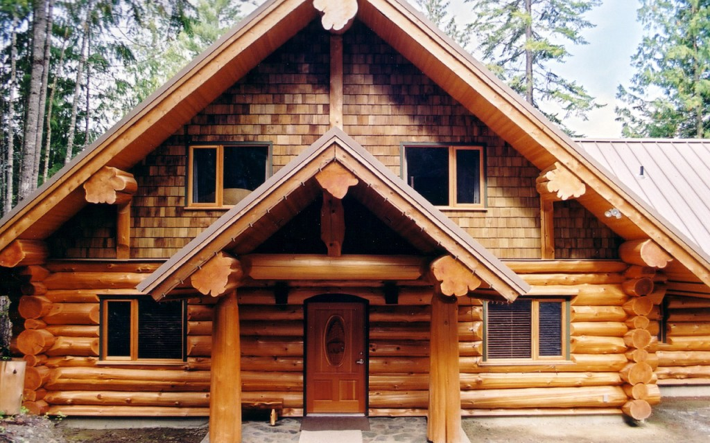 Kamloops full scribe log home west coast log homes for Canadian log cabins