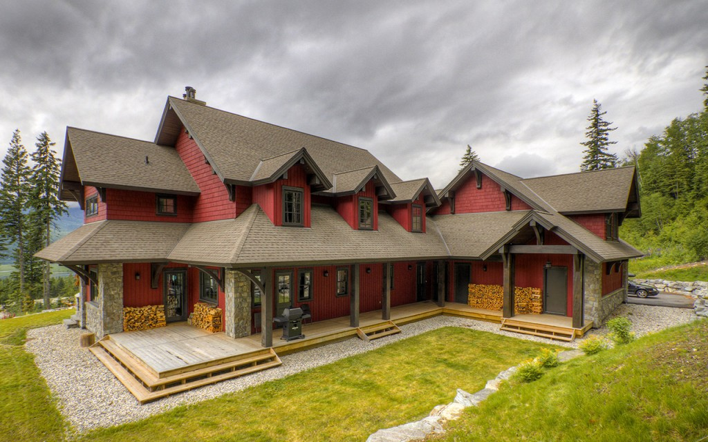 Kootenay timber frame west coast log homes for Timber frame hybrid house plans