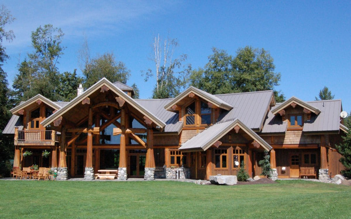 Langley post and beam west coast log homes for Langley home