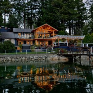 Waterfront Exterior At Night - Pender Harbour Jewel