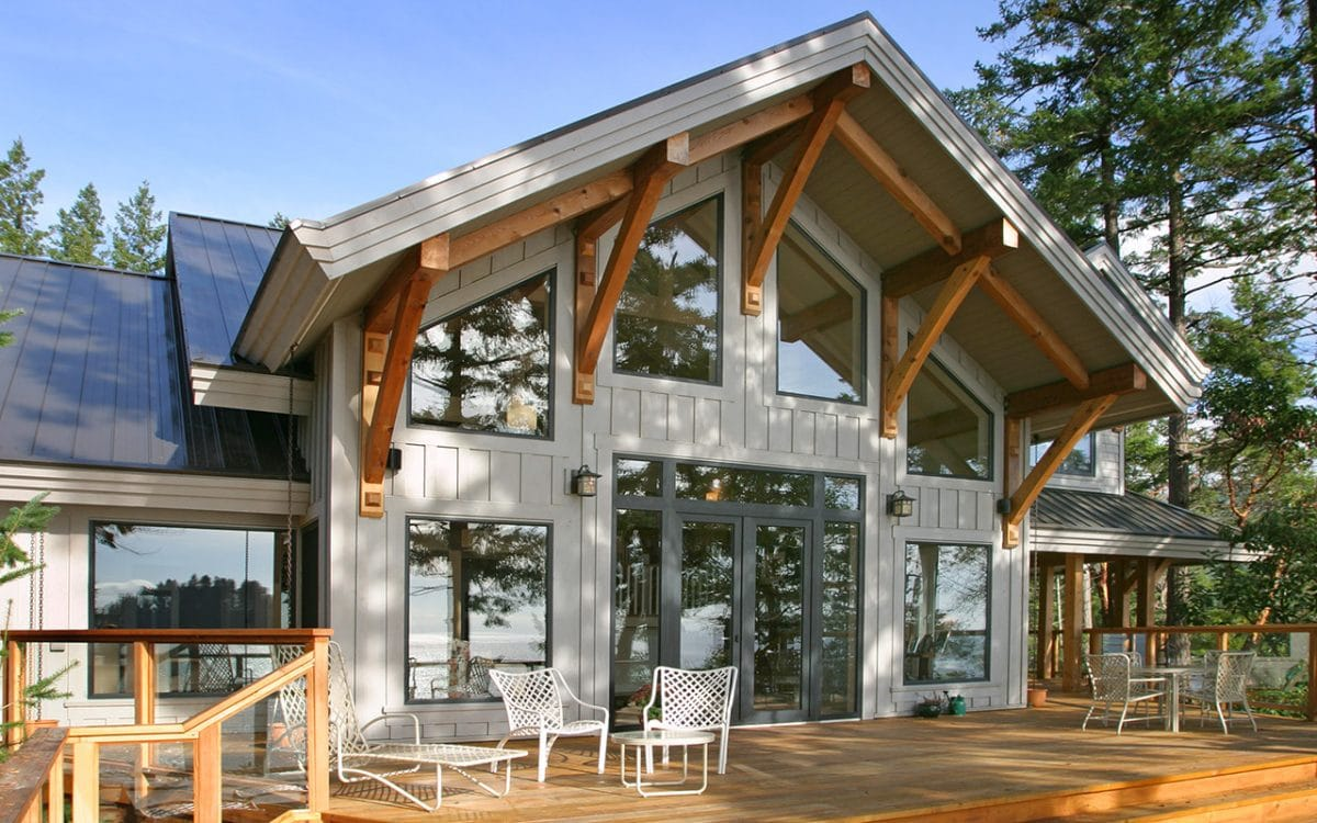 Pender harbour timber frame west coast log homes for Timberframe house