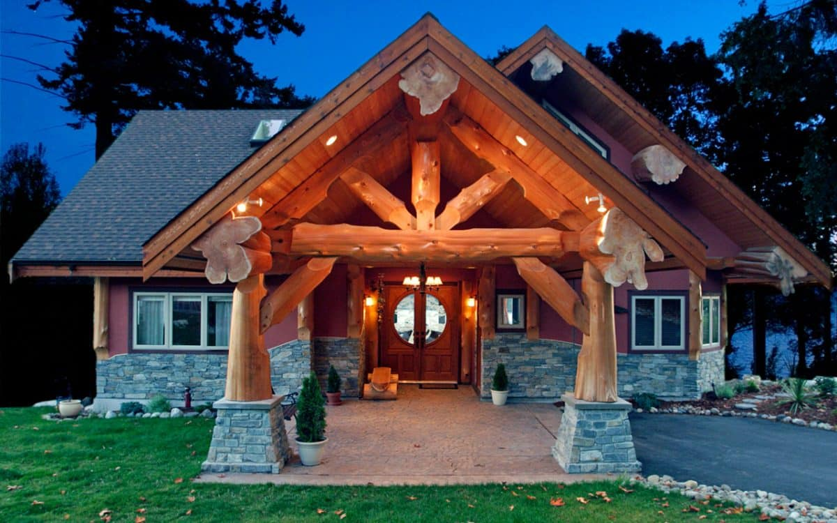 Post and beam west coast log homes for Post and beam home designs