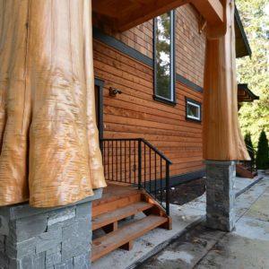 Exterior Entrance Full Log Posts - Selma Park Post Beam Residence