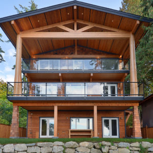 Exterior View Of Ocean Side - Three Story Home With Three Deck Areas - Selma Park Post Beam Residence