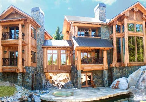 Post and beam west coast log homes for Post beam house