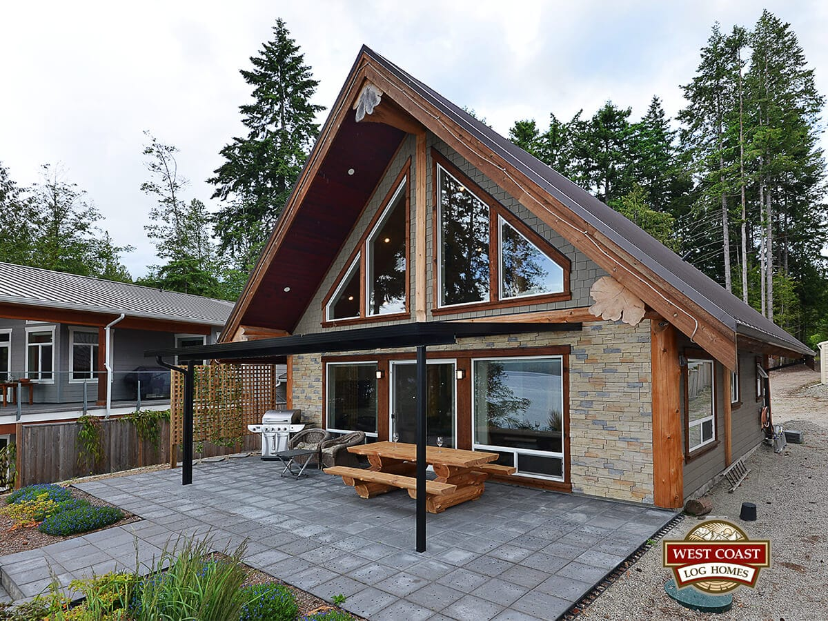 Modern Post And Beam Log Cabin By West Coast Log Homes Outside Deck View